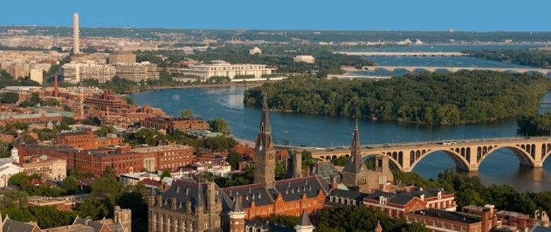 Georgetown University Campus, Washington DC in background